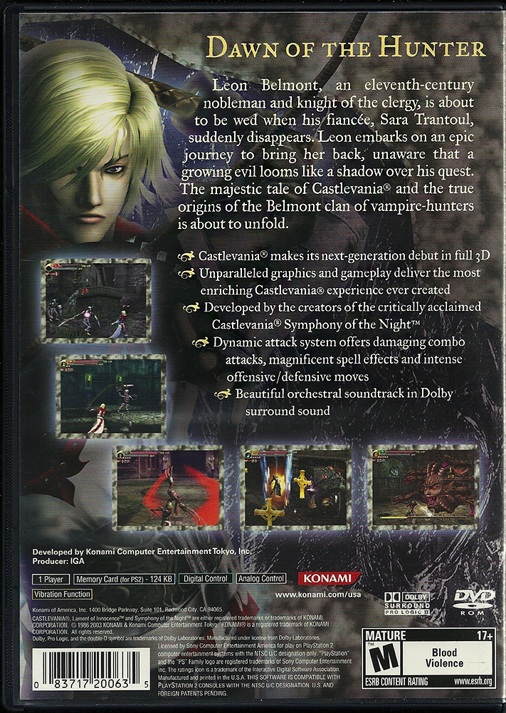 PS2 - Castlevania Lament of Innocence US back