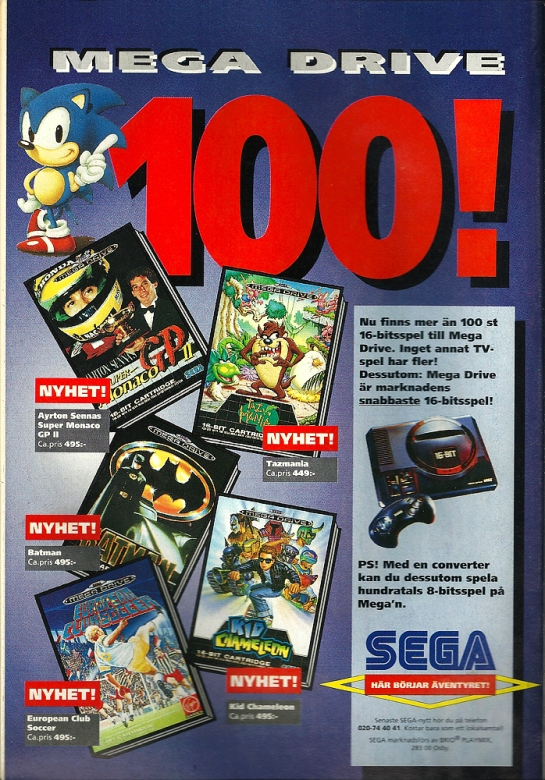 """Now there's over 100 16-bit games for the Mega Drive! No other system has more!"""