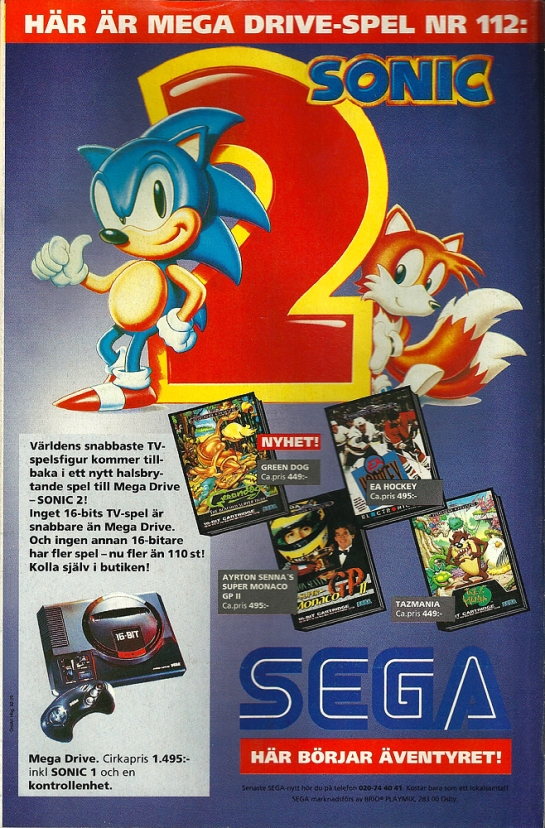"""The worlds fastest video game characters is returning in a neck-breaking game for Mega Drive - SONIC 2!"" I really hope the kids didn't actually break their necks..."