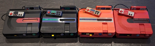 Four different Twin Famicom systems