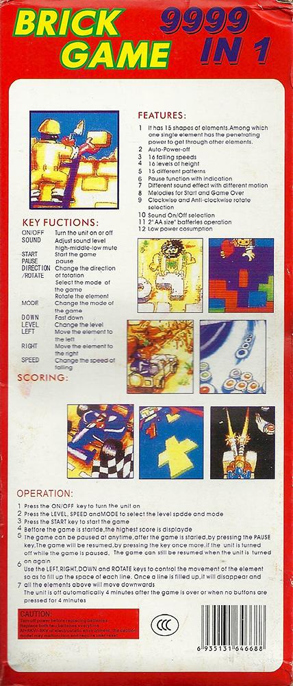 Brick Game - 9999 in 1 Tetris back