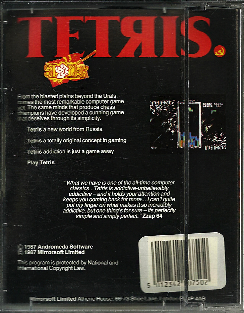 C64 - Tetris big box back