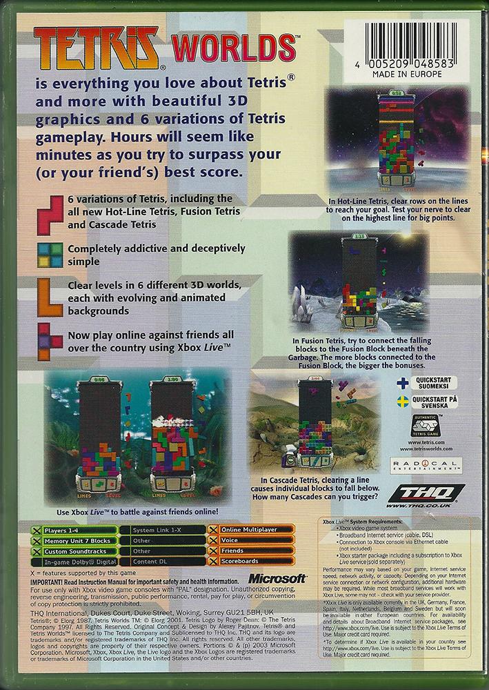 Xbox - Tetris Worlds back