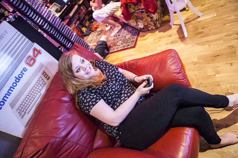 Becki playing Tetris on CDi