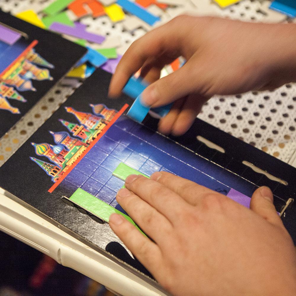 Tetris board game closeup