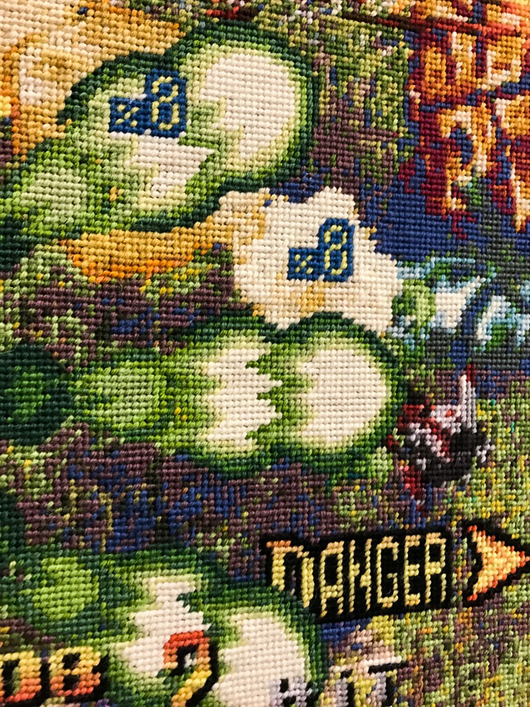 Embroidered art inspired by video games by Per Fhager
