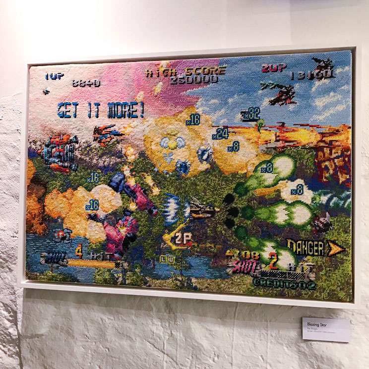 Embroidered screenshot art inspired by video games by Per Fhager