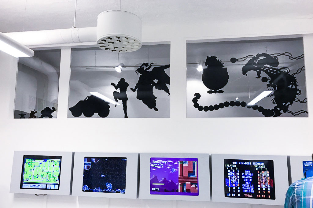 Game character silhouettes at Stockholm's Gaming Museum