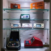 Handhelds on display at Stockholms Gaming museum