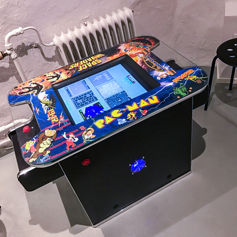 Pacman cocktail able arcade at Stockholm's game museum