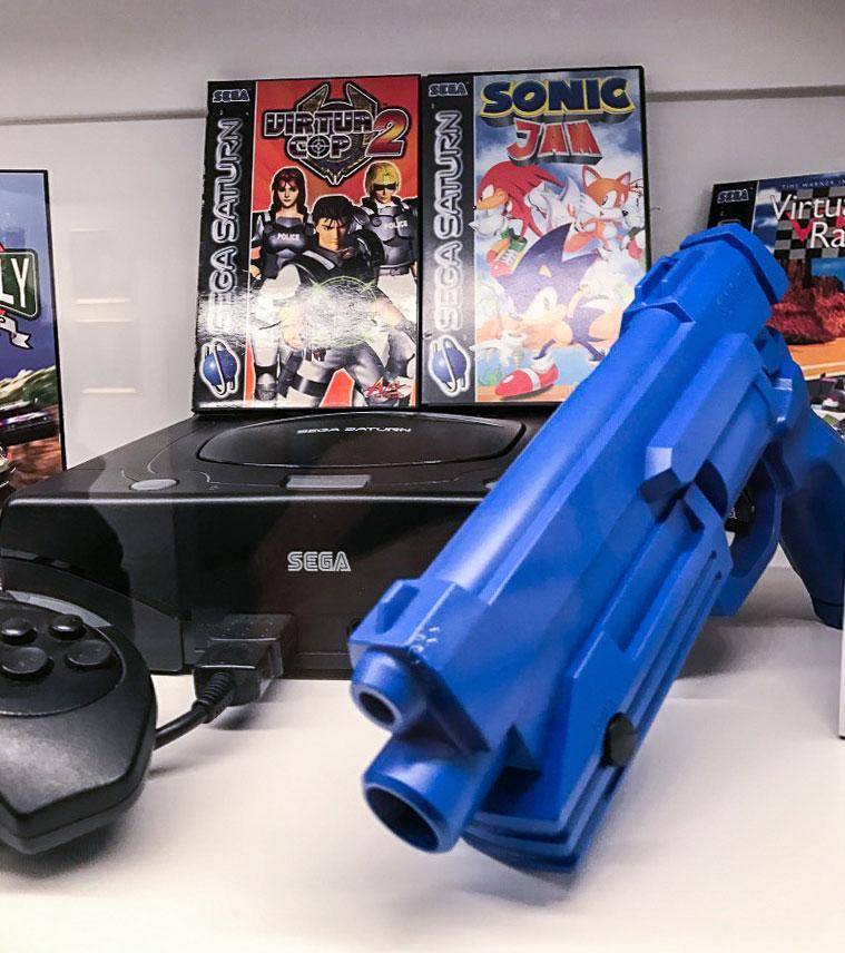 Sega Saturn on display at Stockholms game museum