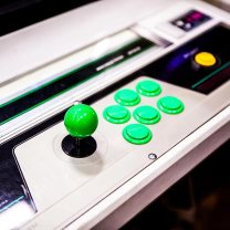 Green arcade buttons and joystick