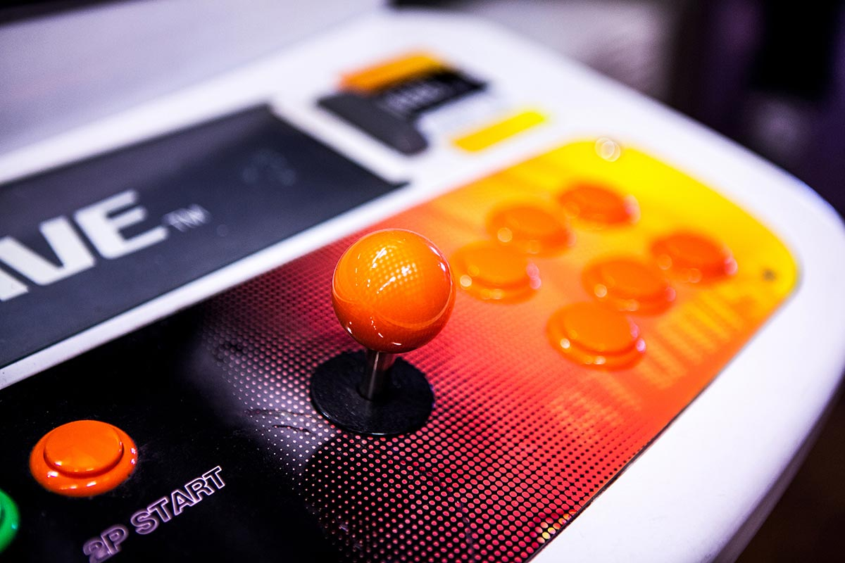 Orange arcade joystick
