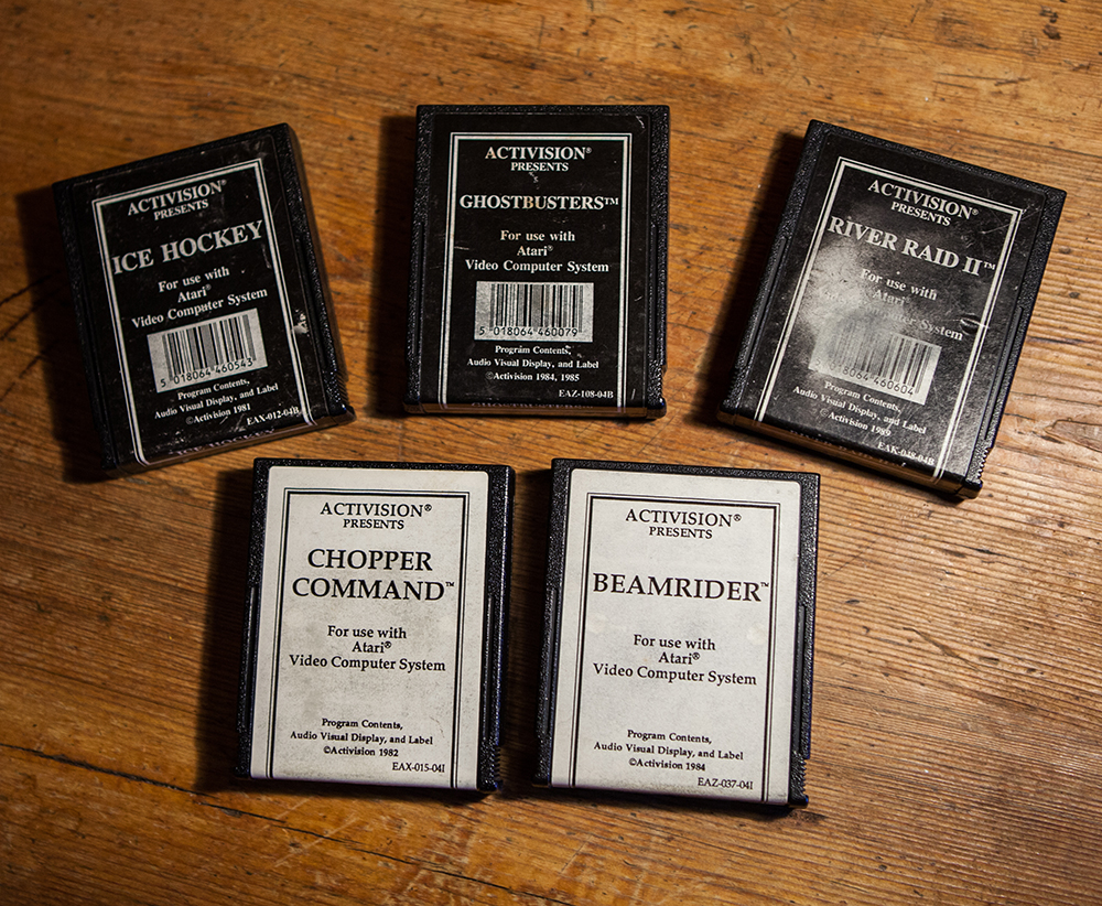 Black and white ActiVision games on Atari 2600