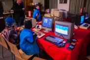 Kids playing old computer games