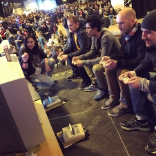 Matt8bit and others competing in Tetris